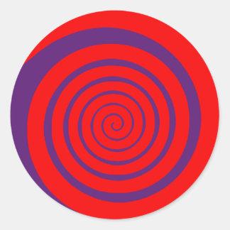 imagen espiral hipnótica roja pegatina redonda