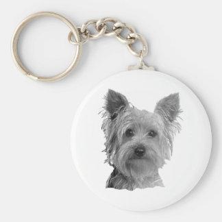 Imagen estilizada de Yorkshire Terrier Llavero Redondo Tipo Pin