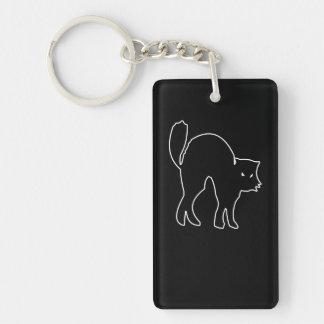 Imagen fantasmagórica del gato negro llavero rectangular acrílico a doble cara