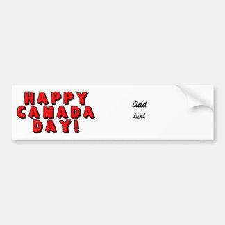 Imagen feliz del texto del día de Canadá Pegatina De Parachoque