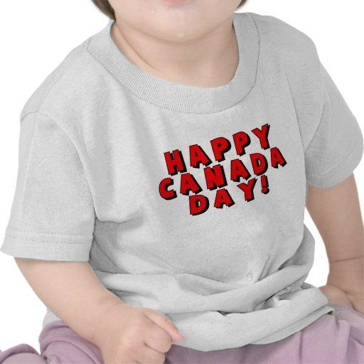Imagen feliz del texto del día de Canadá Camisetas