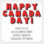 Imagen feliz del texto del día de Canadá Pegatina Cuadrada