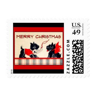 Imagen feliz del vintage de las Felices Navidad Sello Postal
