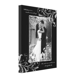 Imagen floral blanca negra de la plantilla de la f impresión en lienzo estirada