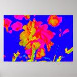 imagen floral colorida azul magenta de la flor abs poster