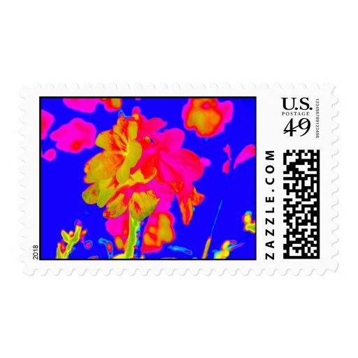 imagen floral colorida azul magenta de la flor sello