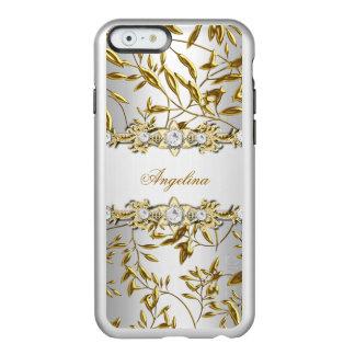 Imagen floral de plata de la joya del diamante del funda para iPhone 6 plus incipio feather shine