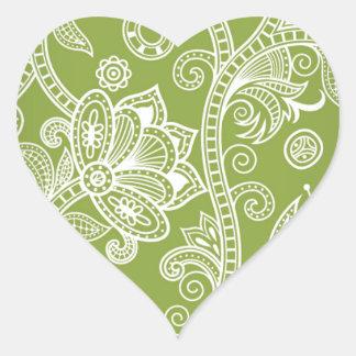 Imagen floral inconsútil del vector pegatina en forma de corazón