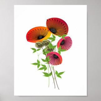 Imagen floral inspirada retra de la naturaleza póster