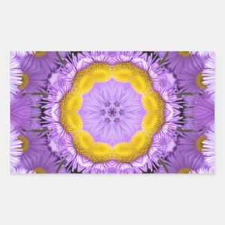 Imagen floral pegatina rectangular