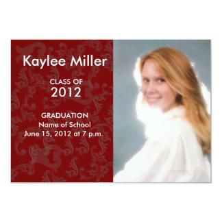 """Imagen formal 2012 de la graduación del damasco de invitación 5"""" x 7"""""""