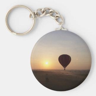 Imagen fotográfica del globo del aire caliente de  llavero redondo tipo pin