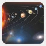 Imagen generada Digital de nuestra Sistema Solar Pegatina Cuadrada