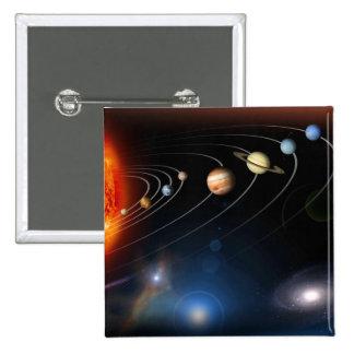 Imagen generada Digital de nuestra Sistema Solar Pin Cuadrada 5 Cm