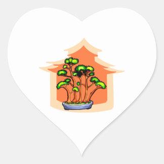 Imagen gráfica 1 del grupo de los bonsais pegatina en forma de corazón