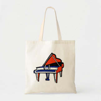 Imagen gráfica azul blanca roja del piano de cola bolsa tela barata