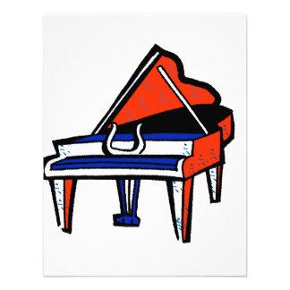 Imagen gráfica azul blanca roja del piano de cola invitaciones personalizada