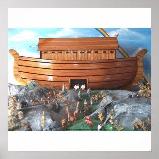 Imagen grande de la diorama de la arca de Noahs Póster