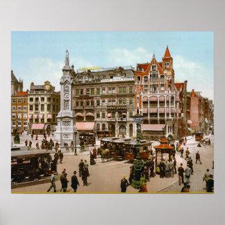 Imagen holandesa del vintage, tranvías de Amsterda Posters