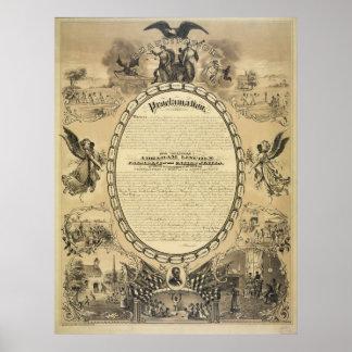 Imagen ilustrada de la proclamación de la emancipa posters