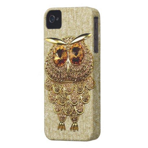 IMAGEN IMPRESA del oro y de la joya ambarina del iPhone 4 Carcasas