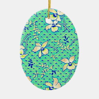 Imagen impresionante de la tela de Feedsack del Adorno Navideño Ovalado De Cerámica