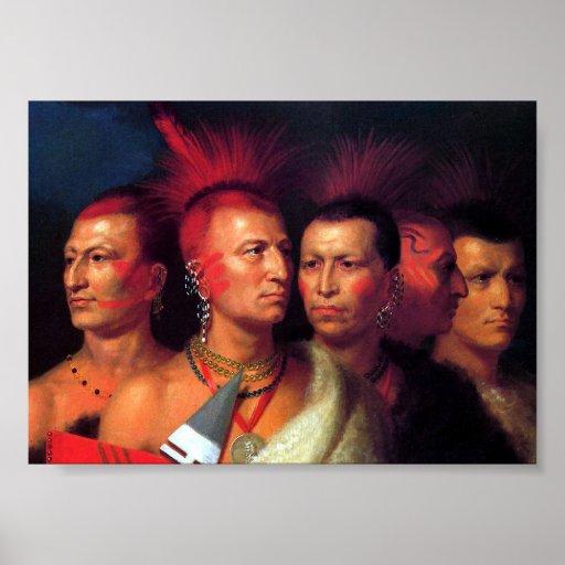Imagen india americana del vintage de los Pawnees Impresiones