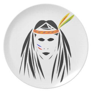 Imagen india roja en la placa plato de comida