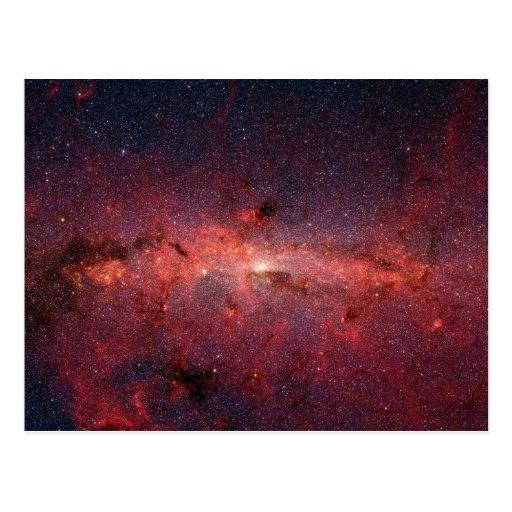 Imagen infrarroja de la galaxia de la vía láctea tarjeta postal