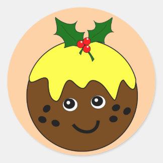 Imagen inglesa linda del pudín del navidad etiquetas redondas