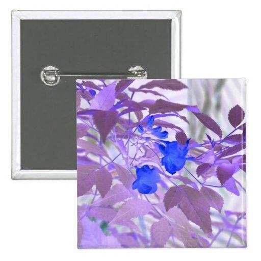 imagen invertida de las flores de las hojas azules pin cuadrada 5 cm