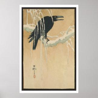 Imagen japonesa del arte del vintage del cuervo ne