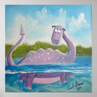 Imagen linda del monstruo de Loch Ness Póster