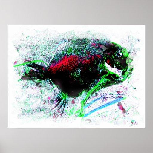 Imagen negativa colorida de un pescado secado póster