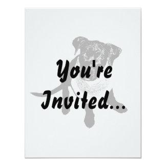 """Imagen negra blanco y negro del perrito del invitación 4.25"""" x 5.5"""""""