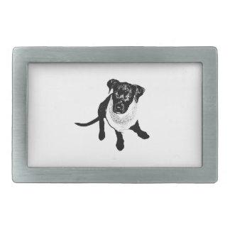 Imagen negra blanco y negro del perrito del labora hebillas cinturón rectangulares