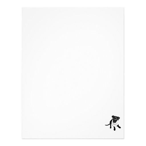 Imagen negra blanco y negro del perrito del labora membretes personalizados