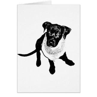 Imagen negra blanco y negro del perrito del tarjeta pequeña