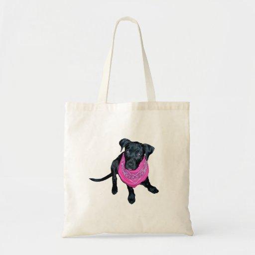 Imagen negra del perrito del pañuelo del rosa del  bolsa tela barata