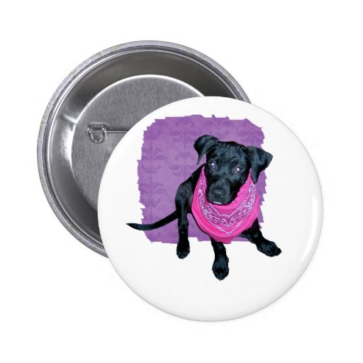 Imagen negra del perrito del pañuelo del rosa del  pin redondo 5 cm