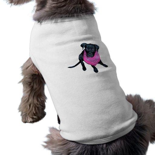 Imagen negra del perrito del pañuelo del rosa del  playera sin mangas para perro