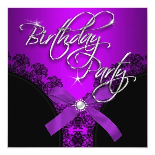 """Imagen negra púrpura del arco de la fiesta de invitación 5.25"""" x 5.25"""""""