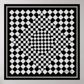 Imagen negra y de plata móvil póster