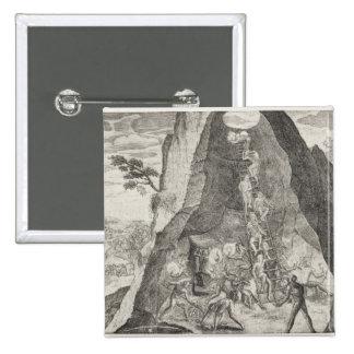 Imagen pintoresca de los Toilers en minas de Pin Cuadrada 5 Cm