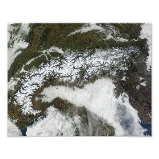 Imagen por satélite de la cordillera de las montañ impresión fotográfica