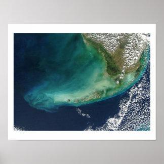 Imagen por satélite de las llaves de la Florida Póster