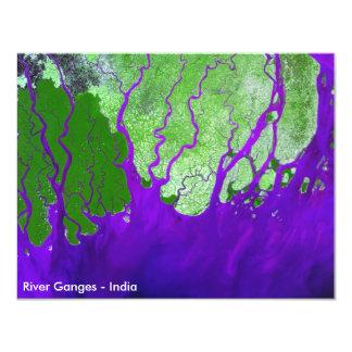 """Imagen por satélite del delta del río Ganges - la Invitación 4.25"""" X 5.5"""""""