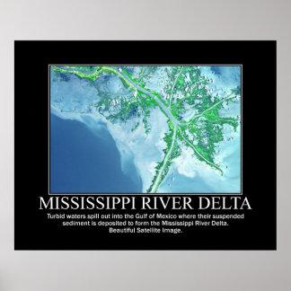 Imagen por satélite del delta del río Misisipi Poster