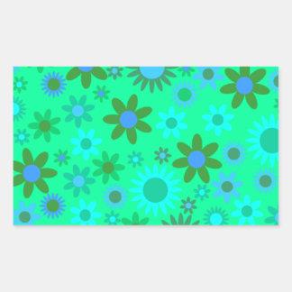 Imagen redonda verde pegatina rectangular