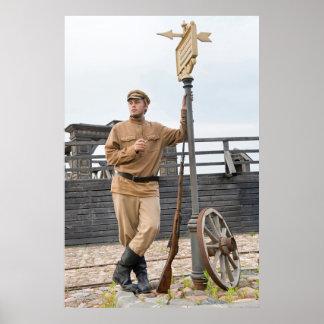 Imagen retra del estilo con el soldado en la parad impresiones